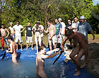 these poor pledges had to play blind folded in this hole in the ground filled with water male masturbation groups