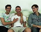 The guys sat back down on the futon and launched into the BSB wave; Mikey groaning in enjoyment as Derek sucked on his hard weenie during the time tha