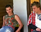 In a wood cutter's yard Fischer puts down his chopper long enough to shag exhibition muscled Ermann gay outdoor sex