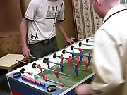 This slim shady-haired twink dropped in at his older lover's place for a game of indoor football, but soon both became obsessed with different en