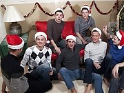 Santa is just sitting back watching the action stroking his dick, but he wants more out of these 7 risquelves male group masturbating at Br