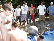 these poor pledges had to play blind folded in this hole in the ground filled with water army gay group sex