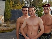The fight for balls licking and gay dick sucking ends up in explosive threesome function where this military gay coition scene turns a soldier's