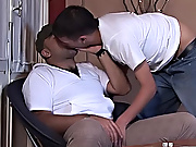 Soon the hunk had the youngster on his knees, working on that thick dark dick amateur gay men videos