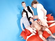 Double oral sex and an even more impressive team effort with 3 guys making the fourth one their fuck floozy for a night, and you know this gay anal pa