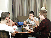 A four man game of hearts turns into talk about first time sexual experiences -as the men move over from the table to the couch they begin feeling out
