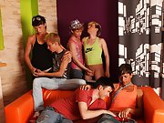 Gay leather groups and teen group orgy men at Crazy Party Boys