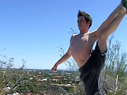 Once Jesse is all stretched, he strokes out a load all over his chest first time gay experienc at Boy Crush!