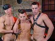 Afterward, Marco is face-fucked by Mr Luky while Adam rams his ramrod into his ass leather gay bondage